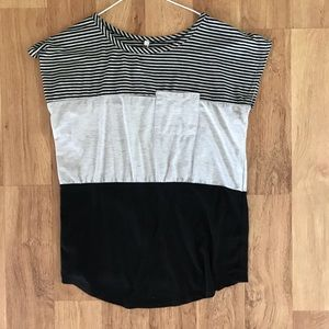 Gray black and white colorblock tank top